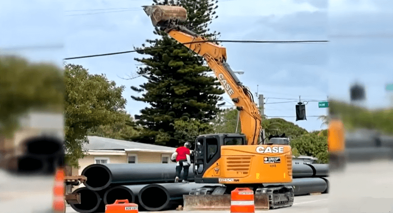 A man wandering with an excavator caused the neighborhood's electricity to be cut off.