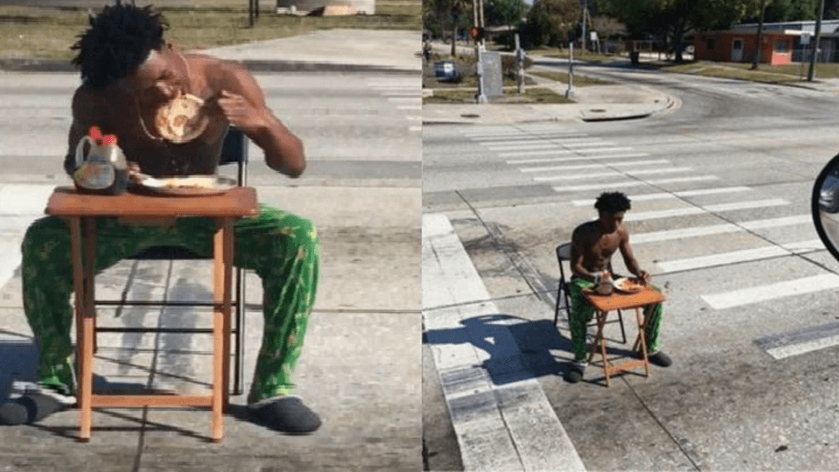 A Florida man in his green pajamas wanted to have a crepe breakfast in the middle ofthe street