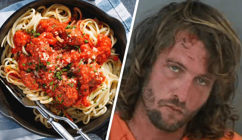 A drunk man was arrested while eating spaghetti