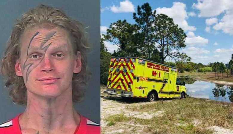 A Florida man is accused of stealing an ambulance and putting it in the mud