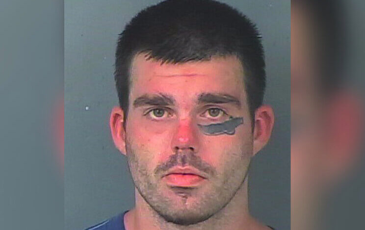 In Florida, a man with a machete tattoo on his face was accused of attacking with a machete