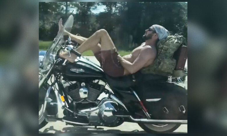 A Florida man, bare from the waist up, was spotted riding a motorcycle barefoot on the highway