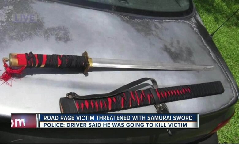 A Florida man threatened people with a samurai sword after a traffic accident
