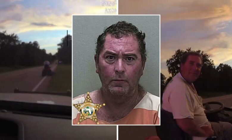 """Not knowing exactly what he was doing, a Florida man was yelling """"Take me to jail"""" at the cops as he drove on the main road with his lawnmower"""