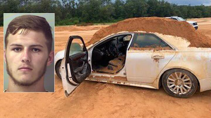 A Florida man wanted to take his anger out on his girlfriend's car and was arrested after he dumped piles of dirt on the car