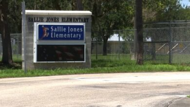 An anti-abortion Florida man is arrested for carrying a sign outside his elementary school showing aborted fetuses